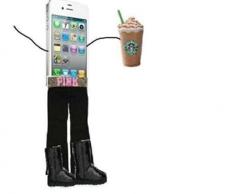 "typical white girl with her starbucks and uggs and ""pink"" belt"